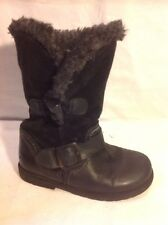 Girls Next Black Leather Boots Size 8