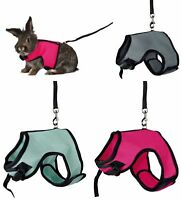 TRIXIE LARGE RABBIT MESH HARNES SET WITH LEAD PINK BLUE SILVER 61514