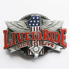 Live To Ride Ride To Live Motorcycle Biker Metal Belt Buckle