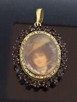 Antique Garnet Pendant Glassed Mourning Portrait Rare Unusual Gilt Metal C.1890s