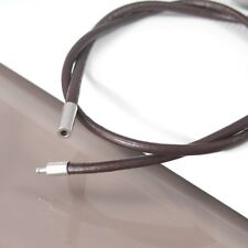 """23"""" 24"""" Inches 61cm Dark Brown Leather Necklace NON Allergy Pewter Connector NEW"""