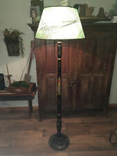 c1920's ASIAN HAND PAINTED BLACK & FIGURAL DUAL LIGHT FLOOR LAMP w/ PAPER SHADE