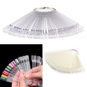 50Pcs False Nail Tips Polish Palette Fan Board Nail Art Practice Sticker Display