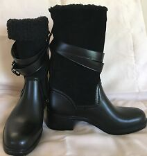 COACH ZENA black suede shearling boots cold weather snow motorcycle heels SIZE 8