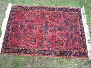 """VINTAGE HAND MADE ORIENTAL RUG 4'9""""x3'4"""" THICK PILE RICH BURGUNDY"""