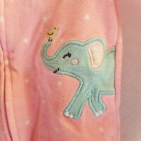 Carters Footed Pajamas Blue Elephant & Yellow Bird Size 9 Months 100% Polyester