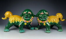 Pair of China Antiques Yellow&Green Coloring Porcelain Foo-Dog Statues