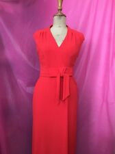 Red Gok Wan Dress Classy Sophisticated Short Sleeve Bow Size 10R