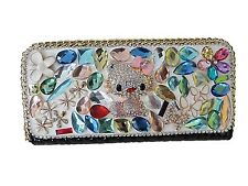 Genuine Leather Diamante Crystal Evening Clutch Wedding  Purse Prom Bling Bag