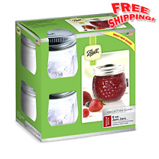 Ball Mason Canning Jars Clear 4 Pack RM 8 Oz Lids Bands Clear Mouth Wedding NEW