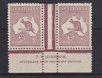K730) Australia 1924 2/- Maroon 3rd wmk. Kangaroo Plate 1 Harrison 2 line