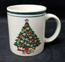Vintage Ceramic Christmas Tree Coffee Mug Cup, Green Trim, Presents, Teddy Bear