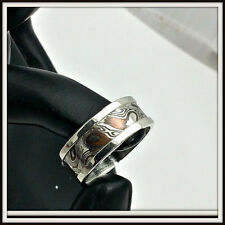 Sterling silver Ring Mokume Gane inlay (argentium sterling - copper) Your size