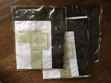 Restoration Hardware Brown Trimmed Italian Sateen Bedding Pillow Cases NEW