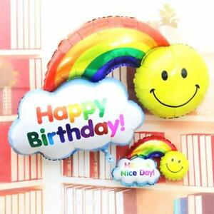 Happy Birthday Balloon Large Rainbow Foil Balloons Party Banner Self Inflating