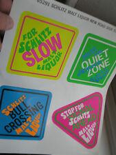 Vintage Psychadelic Pop Art Schlitz Malt Liquor Beer Advertising Stickers Retro