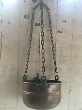 ANTIQUE HAND FORGED HANGING COPPER POT PLANTER