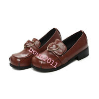 Womens Stylish Lolita slip on Buckle Patent Leather loafers Moccasins shoes Size