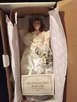 "PRINCESS Sarah BRIDE DOLL DANBURY MINT ROYAL WEDDING 19"" PORCELAIN box COA"