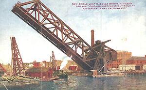 Postcard-New Single Leaf Bascule Bridge for Chicago-Northwestern Railway, IL