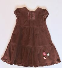 Jacadi Girls Sz 18 Months Fall Brown Corduroy Ruffled DRESS *HK