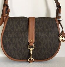 NWT Michael Kors Jamie Large Saddle Bag Shoulder Bag PVC Brown / Luggage