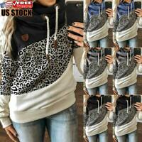Women Leopard Printed Hoodies Sweatshirt Hooded Long Sleeve Tops Jumper Pullover