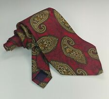 "Hart Schaffner Marx Mens Red Burgundy Gold Paisley Floral Silk Neck Tie 58"" 4"""
