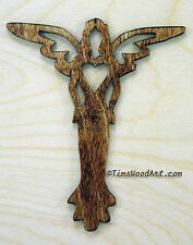 Angel of Love Wood Cross, Baltic Birch, for Wall Hanging or Ornament, Item S4-11