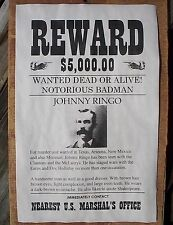 "(754) OLD WEST OUTLAW JOHNNY RINGO BADMAN $5000 REWARD REPRINT POSTER 11""x17"""