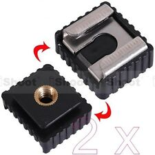 """2x 1/4"""" Screw Hole Cold Foot to Hot Shoe Mount Adapter for Canon Speedlite Flash"""