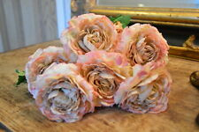 Bunch of 6 Faux Silk Ranunculus Flowers, Artificial Flower Antique Pink Peach