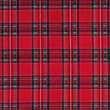 "Cotton Upholstery Curtain Tabletop Cushion Fabric Scott Tartan Check Red 44""W"