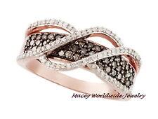 14K ROSE GOLD SILVER BRANDY DIAMOND CHOCOLATE BROWN EYE CATCHING RING .75CT