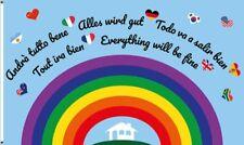 Fahne Flagge Alles wird gut - Regenbogen PREMIUM QUALITÄT Hissflagge 90x150cm