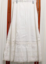 Women's Antique Estate Victorian Skirt Bright White Lace S