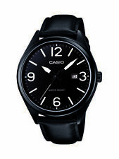 Casio MTP1342L-1B1 Mens Black Leather Modern Casual Dress Watch Large Numbers