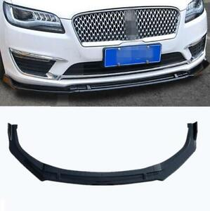 2017-2021 Fit For Lincoln MKZ ABS Glossy black Front Bumper Lip Cover Trim 3PCS