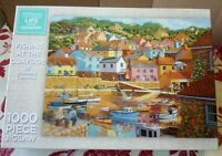 WH Smith Fishing At The Quayside 1000 Pce Jigsaw Puzzle Complete Harbour Boats