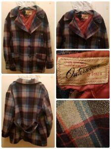 Sears Roebuck Vintage Jacket Hercules Plaid Barn Pea Coat 40s 50s USA Rare Flaws