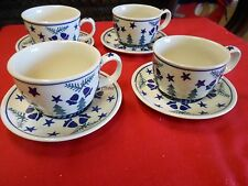 """Outstanding Set of 4 """"Wiza"""" CUPS & SAUCERS  Hand Made in Poland"""