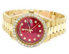 18K Mens Yellow Gold Rolex President Day-Date 36MM Red Dial Diamond Watch 5.0 Ct