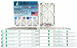 Glasfloss 20x20x2 - MERV 10 - (Qty:12) - Pleated  Air Furnace Filter Made in USA