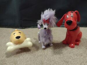 Vtg LOT 3 Wendys Kids Meal Toys 2003 Clifford the Big Red Dog, T-Bone, Cleo