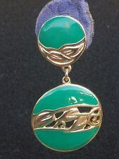 vintage Berebi gold tone , green enamel dangle earrings