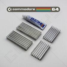 4x Kit Dissipatore COMMODORE 64 C64 Dissipatore di Calore Spatola CPU VIC il PLA SID in alluminio