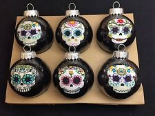 Sugar Skulls Decorated Glass Ball Christmas Ornaments - Set of 6