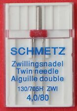 Schmetz Twin Needle 4,0/80 for 2 rows of stitching on medium weight fabric