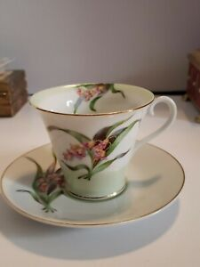 Vintage Jyoto China Occupied Japan Tea Cup and Saucer Pink and Green Flowers