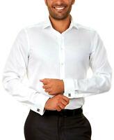 Calvin Klein Slim Fit French Cuffed Dress Shirt, White Herringbone Size 14 32/33
